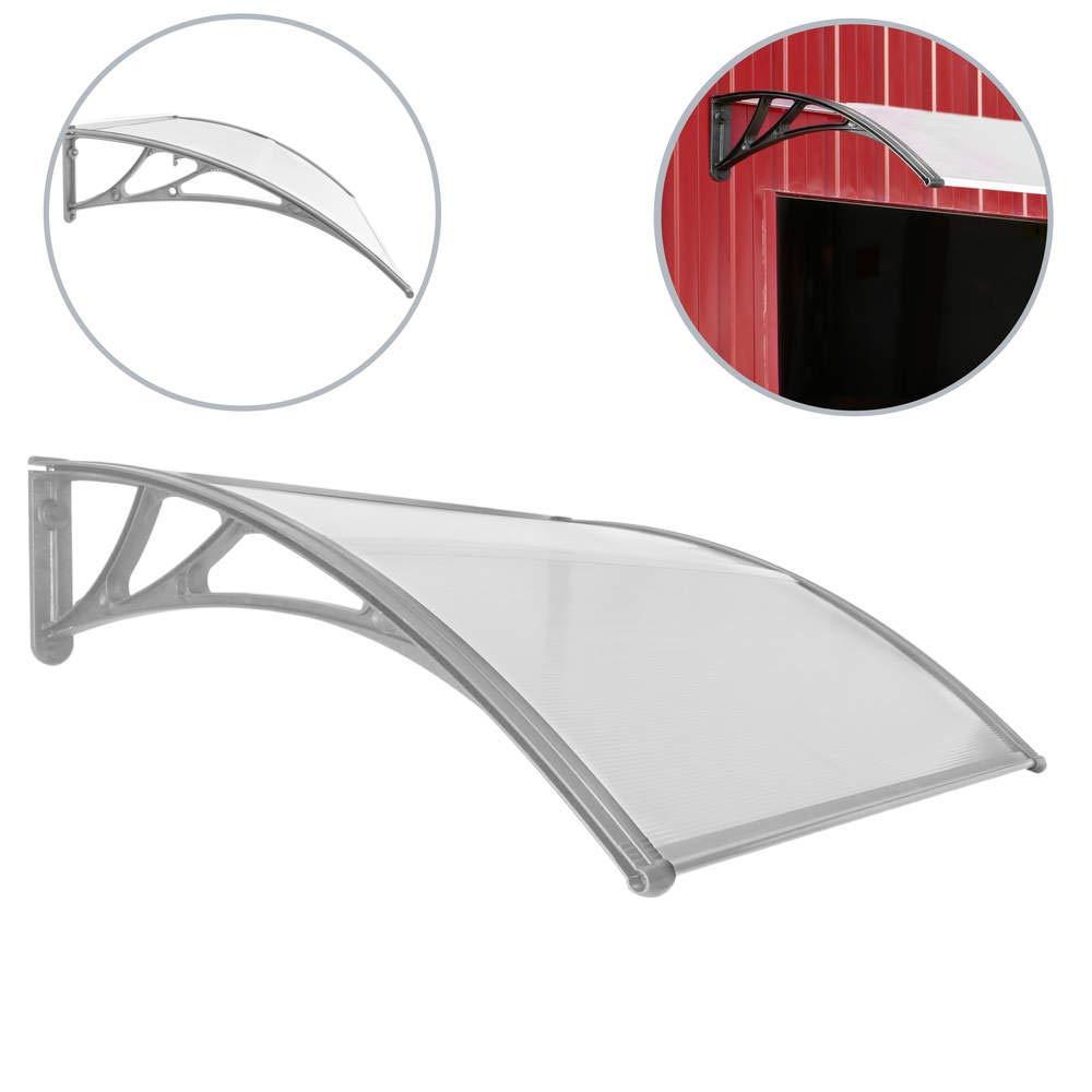 PrimeMatik - Tejadillo de protecció n Marquesina para Puertas y Ventanas Gris 120x100cm PrimeMatik.com