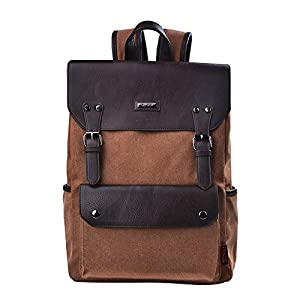 "Douguyan 15.6"" Laptop Backpack Canvas Leather Backpack Vintage Backpack School Backpack Brown 231"