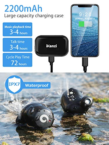 [Updated Version] Wireless Earbuds Bluetooth Headphones IKANZI iPX7 Waterproof 72H Cycle Play Time, 2200mAh Bluetooth 5.0 Auto Pairing Wireless Earphones Bluetooth Headset with Charging (Bright Black)