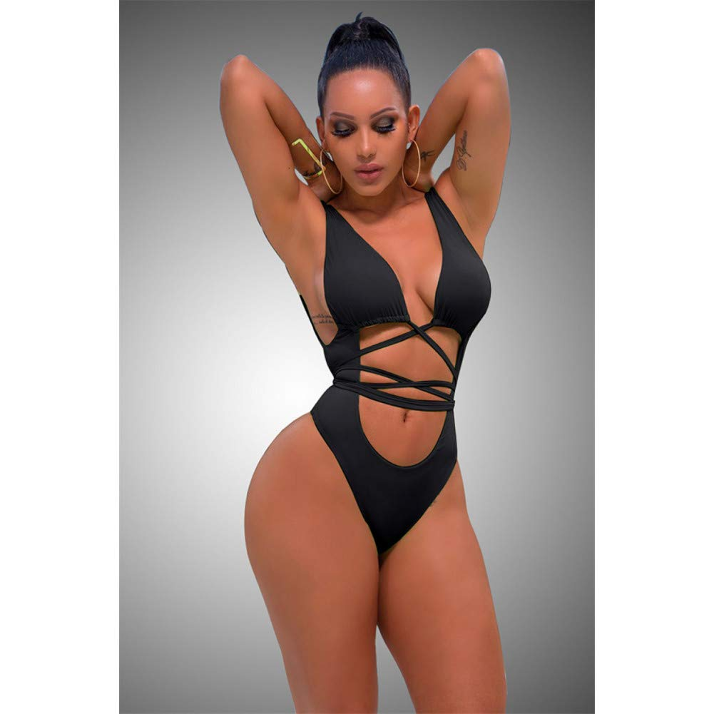 QAZWSX High Cut One Piece Swimsuit Thong Swimwear Women Bandage Backless Bodysuit Bathing Suit