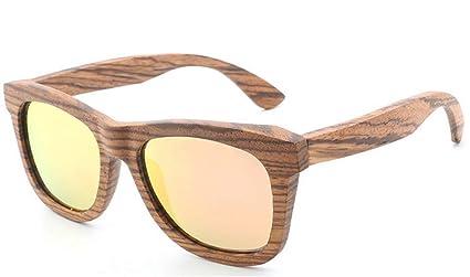 SKQC Gafas de Sol, Unisex Polarized Bamboo Wooden Retro ...