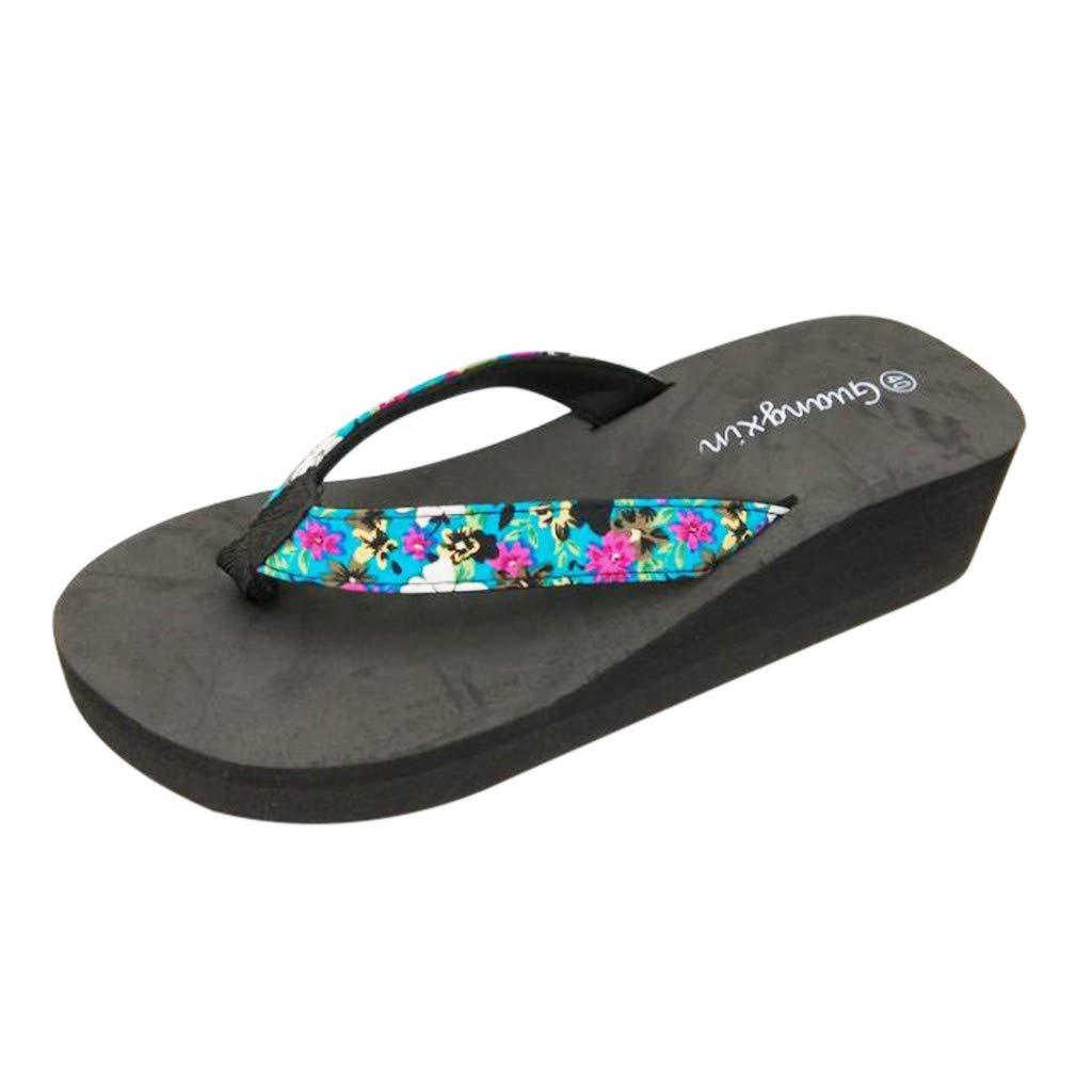 Womens Girls Wedge Sandal Summer Beach Bohemian Flower Casual Flip Flop Sandals by Lowprofile Light Blue