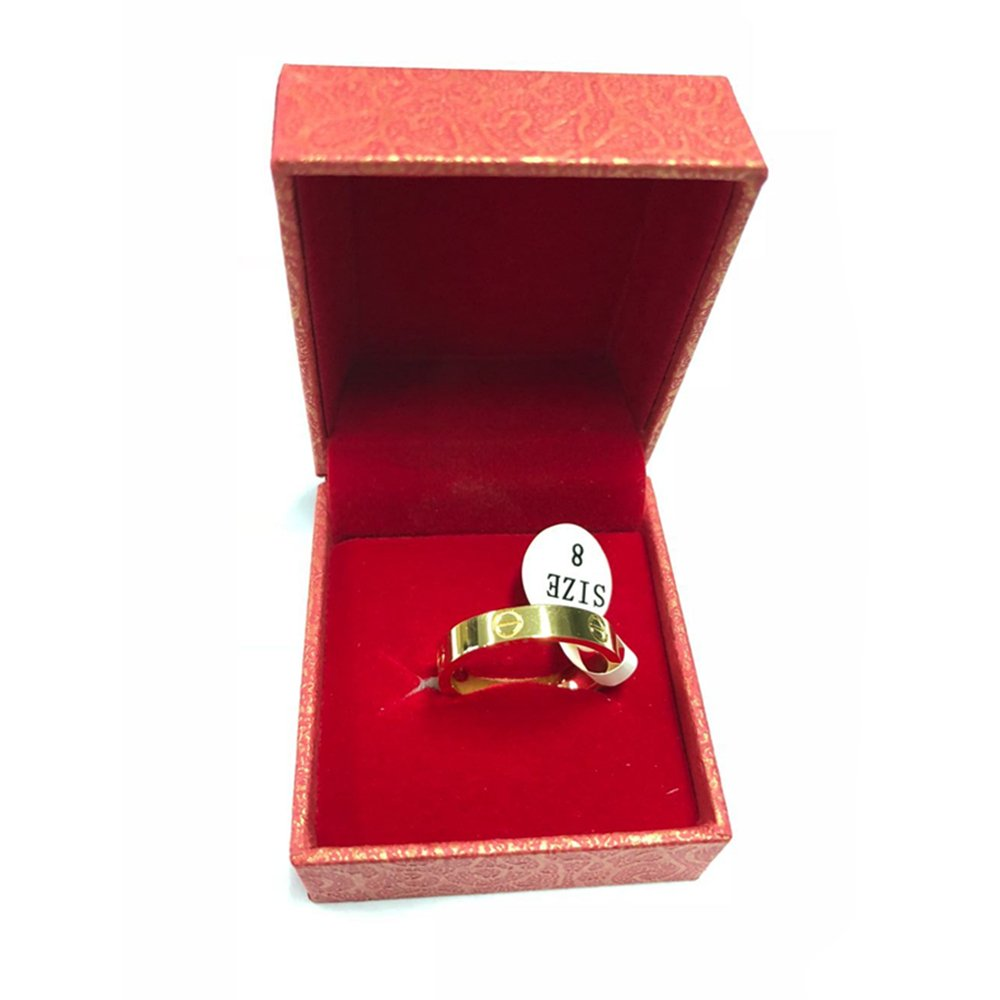 4mm Love Ring - Lifetime Just Love You with Screw Design Rings(Size: 5-10) (Gold, 7) by Qindishijia (Image #4)