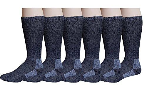 6 Pairs Pack Men's 75% Merino Wool Hiking Thermal Socks (9-11),Black/Grey