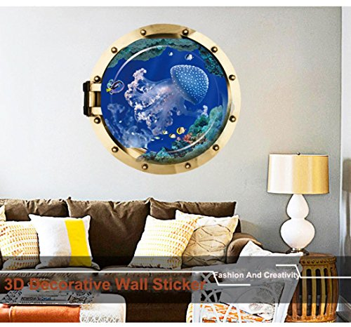 ♥Nation☀❤ღ Fashion And Creativity 3D Blue Jellyfish Wall Decorative Removable Wall Stickers