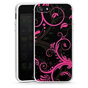 Apple iPhone 5 Case Shell Cover Silicone Case white - Black Curls