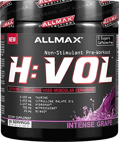 Muscle Volumizer Cell (ALLMAX Nutrition HVOL Powder, Non-Stimulant Pre-Workout + Vascular Blood Volumizer, Intense Grape, 285g)