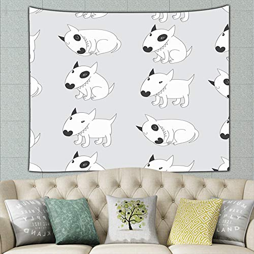 wrtgerht Cute Bull Terriers The Arts Tapestry Wall Hanging, Hippie Sunset Forest Tapestry, Wall Art Decoration for Bedroom Living Room Dorm, Window Curtain Picnic Mat 50ʺ × 60ʺ