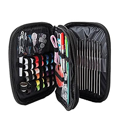 Sewing Kit+Knitting Kit - Most Useful For Home,Travel And Emergency. Perfect For Beginners, Adults And Kids. Includes 18 Spools Of Thread, 49 Pieces Crochet Hooks Yarn Knitting Needles Full Set & More