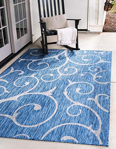 Unique Loom Outdoor Botanical Collection Vine Floral Transitional Indoor and Outdoor Flatweave Blue  Area Rug (7' 0 x 10' - Blue Transitional Rug Area