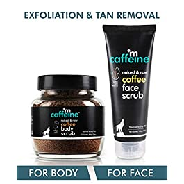 mCaffeine Coffee Exfoliation & Tan Removal Combo | Body Scrub 100gm, Face Scrub 100gm| Oily/Normal Skin | Paraben & SLS…
