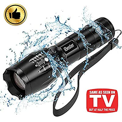 Tactical Flashlight, iBester 1600 Lumens CREE XML-T6 LED Taclight As Seen On TV, Portable, Zoomable, 5 Modes, Water Resistant, Perfect for Camping, Outdoor