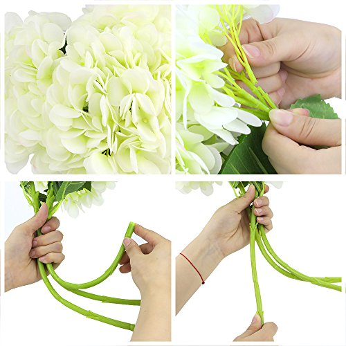 CEWOR 3pcs Artificial Hydrangea Flowers with 2pcs Fake Leaves Fake Silk Flowers for Home Wedding Garden Party Decor, (White) by CEWOR (Image #4)