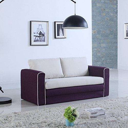 Bon Divano Roma Furniture Modern 2 Tone Modular/Convertible Sleeper  (Purple/Beige)