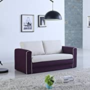 Divano Roma Furniture Modern 2 Tone Modular/Convertible Sleeper (Purple/Beige)