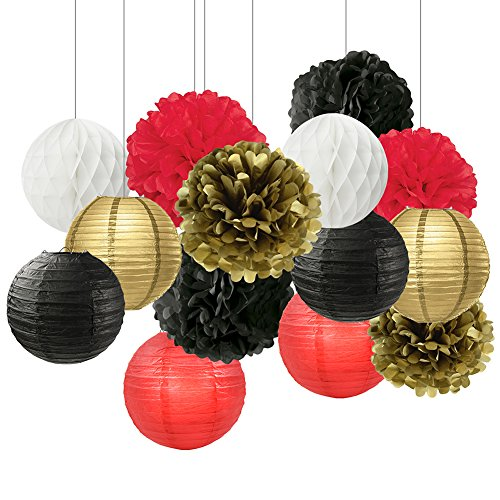 Graduation Party Decorations Black White Red Gold Tissue Paper Pom Pom Paper Flower Paper Lantern Tissue Ball Decorations for Baby Shower Nursery Decor Ladybug Decorations Birthday Party Decorations