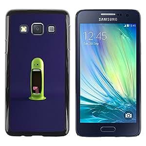 A-type Arte & diseño plástico duro Fundas Cover Cubre Hard Case Cover para Samsung Galaxy A3 (Monstruo verde divertido)