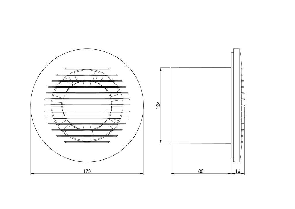 125/mm est/ándar de Extractor con rodamiento de bolas para ba/ño y cocina con bajo consumo de energ/ía funcionamiento silencioso EA125