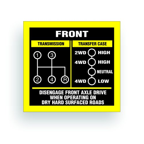 Transmission Shift Pattern Decal - Jeep, Willys Or CJ May Fit Transmission And Transfer Case Models SM465, Dana 18, 4 Speed, Single Stick - 3x2.75 inch (Model 18 Transfer Case)