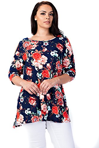 Betsy Red Couture Plus Size Cold Shoulder Tunic Top (3X, Navy Red Floral)
