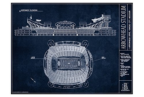 (Arrowhead Stadium Blueprint Style Print (Unframed, 18
