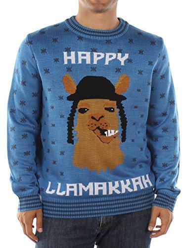Tipsy Elves Men's Happy Llamaka Hanukkah Sweater Large Blue