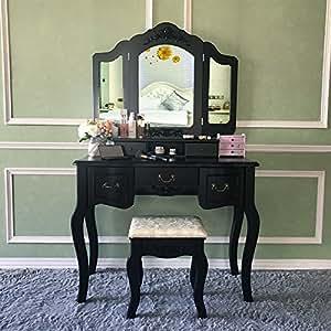 Vanity Makeup Table Set Vanities Set Tri-folding Mirror with Stool 5 Drawers Dressing Table Bedroom Blongang Makeup Vanity Table Set ,Black