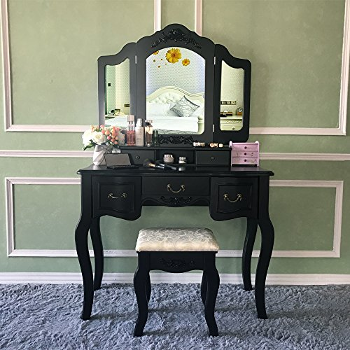 Blongang Vanity Makeup Table Set Vanities Set Tri-folding Mirror with Stool 5 Drawers Dressing T ...