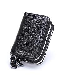 MuLier Top Grain Genuine Leather Double Zipper Around RFID Blocking Anti-theft Women Card Holder Purse (Black)