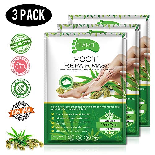Hemp Foot Sock Mask 3 Pack,foot Mask Spa foot mask Repair Rough Skinfor Dry foots,Moisturizing foot to Replenish Dry Dull Skin for Women Men ()