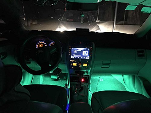 Car LED Strip Lights,Unpopular 4pcs 48 LED USB Car Interior Music Multicolor Rope Lights Atmosphere Decorative SMD Neon Lamp Lighting with Sound Active Function,Wireless Remote Control(USB Port) by UNPOPULAR (Image #5)