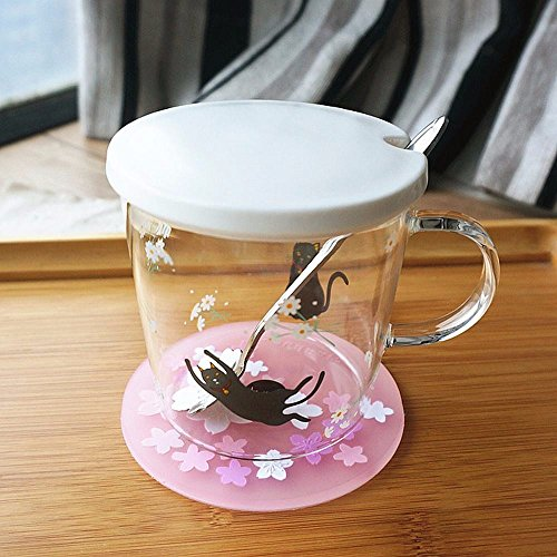 WU-Mug The mug glass lovely creative milk cup with cover flower tea cup coffee mug Water Cup ,A-2 -  7262656089997