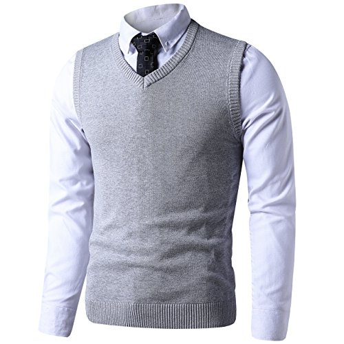 (LTIFONE Mens Slim Fit V Neck Sweater Vest Basic Plain Short Sleeve Sweater Pullover Sleeveless Sweaters with Ribbing Edge(Grey,M))