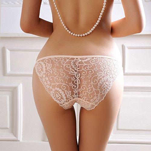 Culotte Femme Sous-vêtements sexy femme tentation dentelle respirante Low-Rise Non-Marking Rouge , de la hanche