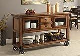 1PerfectChoice Kadri Industrial Kitchen Server Cart Cabinet Slatted Shelf Distress Chestnut