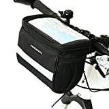 TraderPlus Cycling Bike Bicycle Front Basket Handlebar Bar Bag with Sliver Grey Reflective Stripe 3.5L
