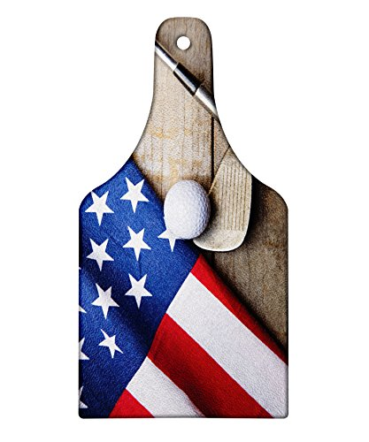 Lunarable Sports Cutting Board, Golf Ball with Flag of USA on Wood Table Patriotism Rustic Country Style, Decorative Tempered Glass Cutting and Serving Board, Wine Bottle Shape, Navy Blue Red ()