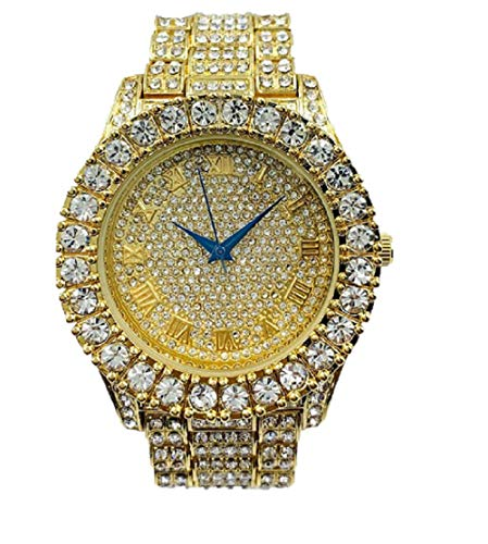 Mens Gold Big Rocks Bezel Gold Dial with Roman Numerals Fully Iced Out Watch - Gold/Gold - ST10327