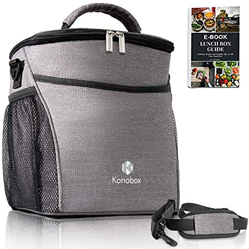 Insulated Big Lunch Bag - Leakproof Tote For Women and For Men - Includes a Thermal Bottle Sleeve - Grey Lonchera by -