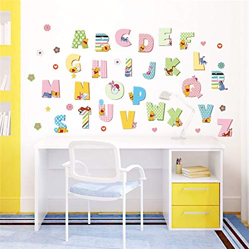 (Winnie The Pooh Animals Alphabet Wall Stickers Study Room Home Decoration DIY Nursery Mural Art English Letters Wall)