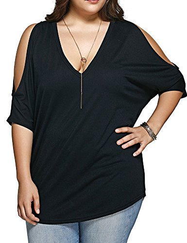 Allegrace Women Plus Size V Neck Short Sleeve Batwing Top Cold Shoulder T Shirt 2X Black