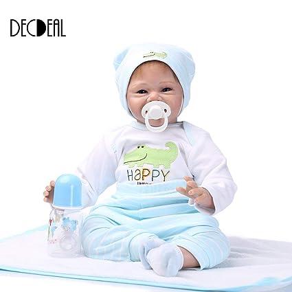 cdbe78a4d Decdeal - Reborn Muñeco de Bebé de Silicona con Ropa para Recién Nacido, 22  Pulgadas