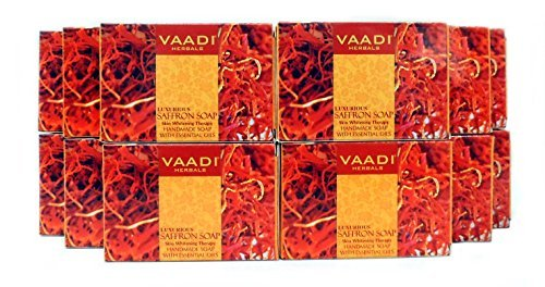 Saffron Soap (Saffron Bar Soap) with Goat Milk - Handmade Herbal Soap (Aromatherapy) with 100% Pure Essential Oils - ALL Natural - Skin Whitening Therapy - Each 2.65 Ounces - Pack of 12 (32 Ounces, 2
