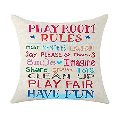 SLS Playroom Rules Make Memories Laugh Play fair Have Fun Cotton Linen Decorative Throw Pillow Case Cushion Cover Linen Pillow case 18X18 (5)