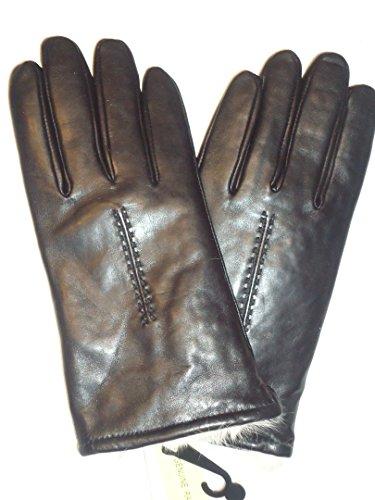 Ladies Rabbit Fur Lined本革手袋、ブラック