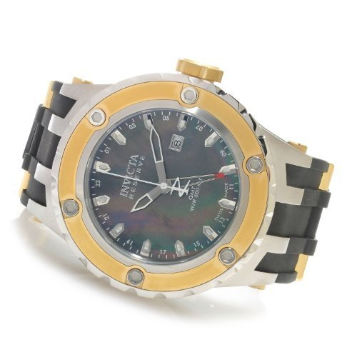 Invicta Mens Reserve Specialty Subaqua Swiss GMT Black MOP Dial SS & Rubber Watch 80586