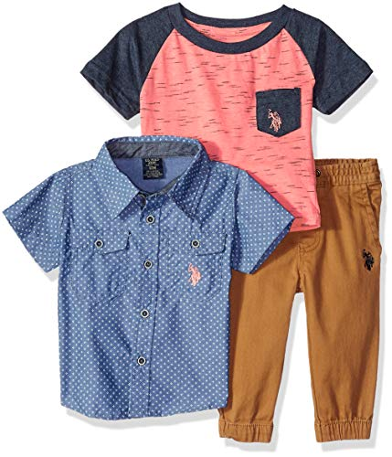 (U.S. Polo Assn. Baby Boys Short Sleeve, T-Shirt and Pant Set, with with Orange Logo Multi Plaid, 24M)