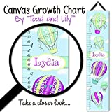 Canvas GROWTH CHART Hot Air Balloon Purple, Mint, Aqua, and Teal Girls Travel Adventure Bedroom Baby Nursery Bedroom GC0276