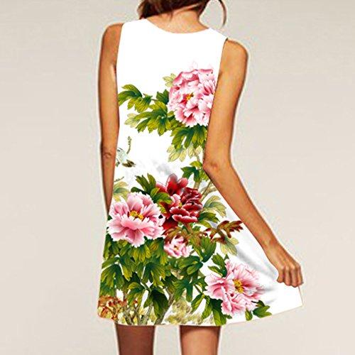 Honghu Damen Sommer Casual Druck Trägerkleid Mini a-linie Ärmellos Rundkragen Dress