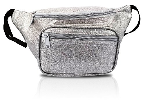 Metallic Silver Fanny Pack, Waist Bag For Parties And Concerts (Sparkle Silver)
